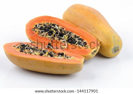 Papaya, Pawpaw, Tree melon (Carica papaya L.) Papaya dessert on plate, Fruits for Healthy Eating. - stock photo