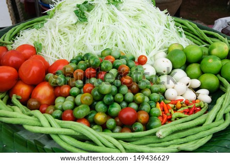 Papaya salad ingredient, a famous menu in Laos and Thailand