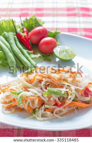 Papaya salad (Som tum),Thai food.