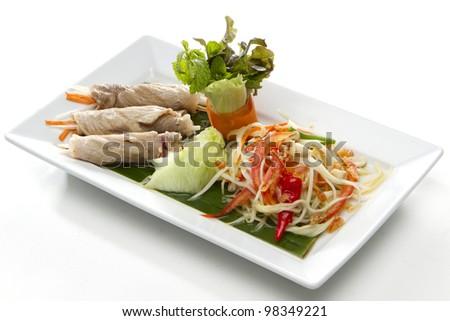 Papaya Salad with Grilled Pork - stock photo
