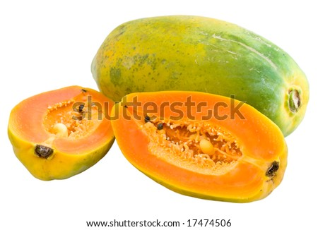 Papaya: Whole and Halved with Clipping path - stock photo
