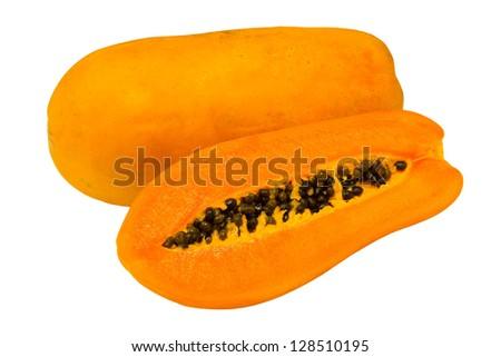 papayas on the whit background - stock photo