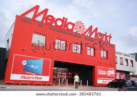 PAPENBURG, GERMANY - AUGUST 11, 2015: Entry of a Media Markt store. Mediamarkt is a German chain of stores selling consumer electronics with numerous branches throughout Europe and Asia. - stock photo