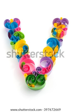 Paper ABC letter made in quilling crafting technic - stock photo