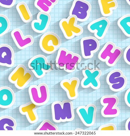 Paper ABC seamless. Handmade font. Raster version.  All 26 letters are here.  - stock photo