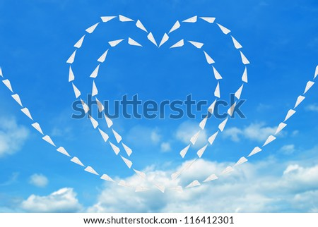 Paper air plane , heart concept - stock photo