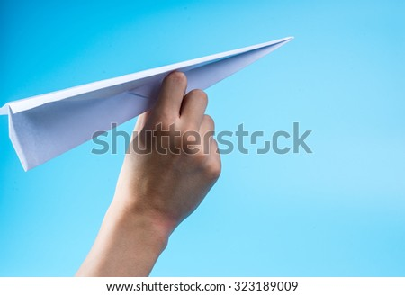 Paper airplane and blue sky.