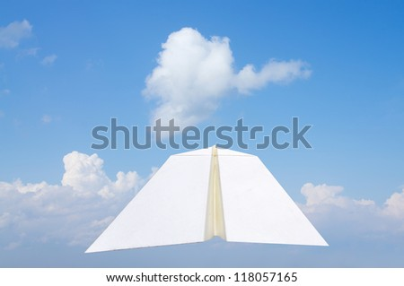 Paper airplane and blue sky background
