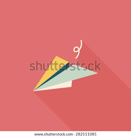 paper airplane flat icon with long shadow - stock photo