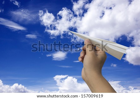 Paper Airplane Fly - stock photo