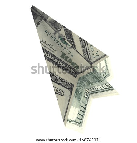 Paper airplane from the dollars. Isolated render on white background
