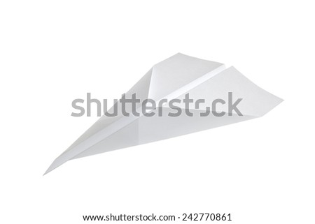 Paper Airplane in classic arrow shape isolated on white background - stock photo