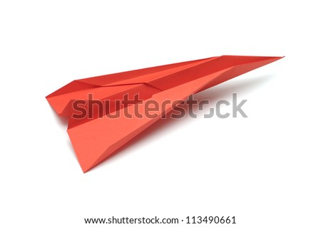 Paper airplane on white background - stock photo