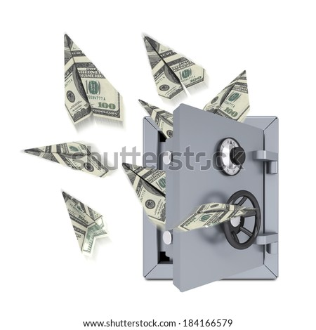 Paper airplanes of dollars from an open safe. Isolated on white background - stock photo
