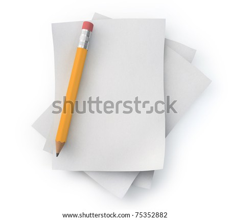Paper and pencil - stock photo