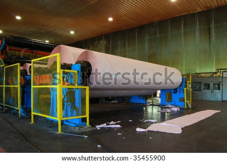 Paper and pulp mill - detail of Fourdrinier Paper Machine. This machine produces paper for newspapers. - stock photo