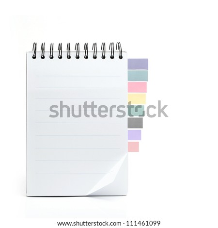 Paper and reminder note on white background - stock photo