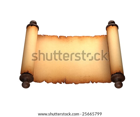 Paper Antique Scroll Isolated On White - stock photo