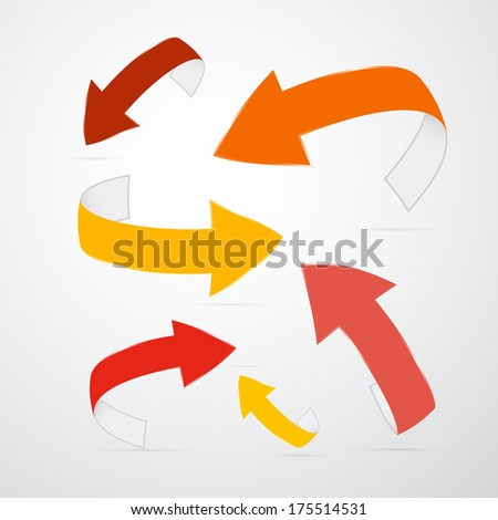 Paper Arrows Set - Also Available in Vector Version  - stock photo