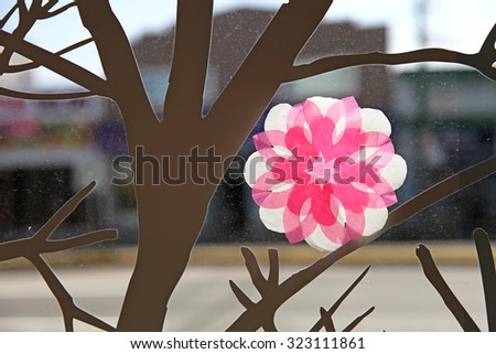 Paper art flower and tree - stock photo