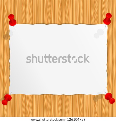 Paper attached to the wooden wall - stock photo