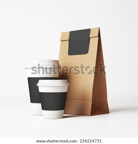 Paper bag and cups - stock photo