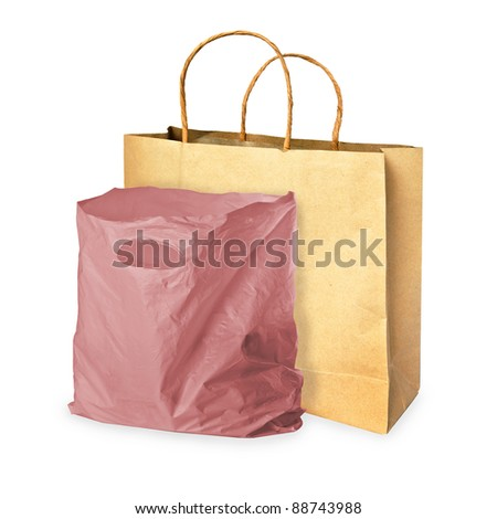 paper bag and plastic bag on white - stock photo
