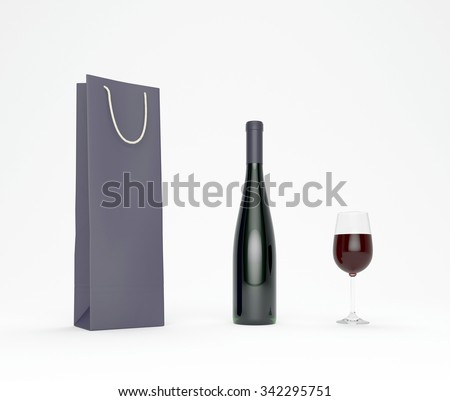 Paper bag, bottle and glass with red wine