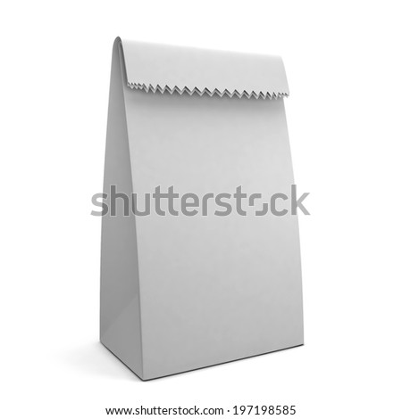 Paper bag. 3d illustration isolated on white background - stock photo