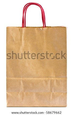 Paper bag from recycled brown paper over white background - stock photo
