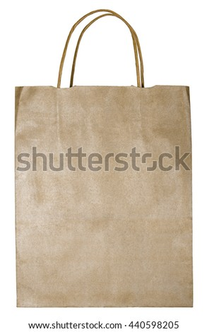Paper bag (front view).  Image is isolated on a white background.