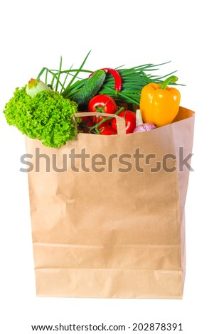 paper bag full of wholesome food - stock photo