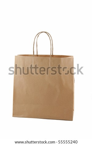 Paper bag isolated on a white background. - stock photo