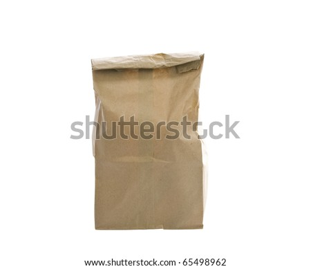 paper bag. Isolated on a white background - stock photo