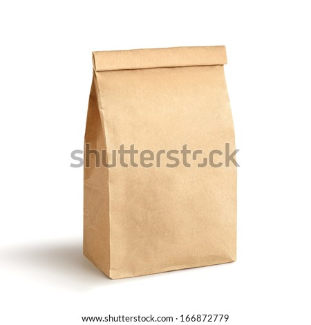 Paper bag isolated on white - stock photo