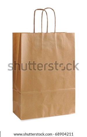 Paper bag isolated on white background, with clipping path