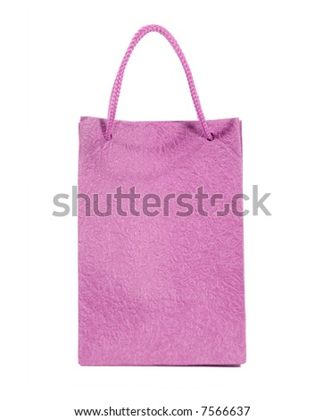 Paper bag isolated on white (clipping path) - stock photo