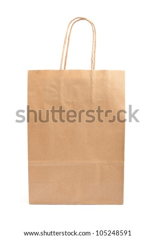 Paper bag on white background. Consumerism symbol.