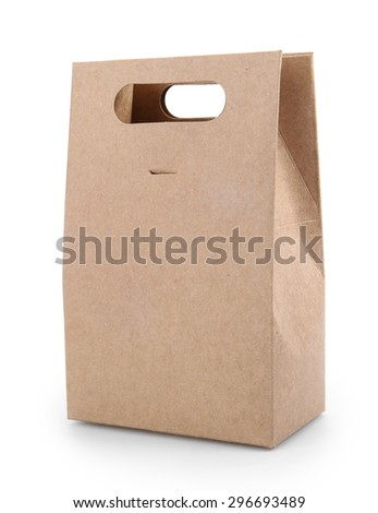 Paper Bag On White With Clipping Path - stock photo