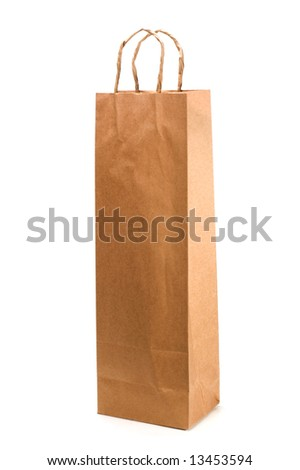 paper bag over white background - stock photo