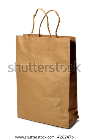 paper bag over white background