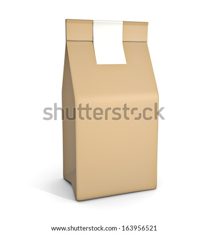 Paper bag package isolated on white background - stock photo