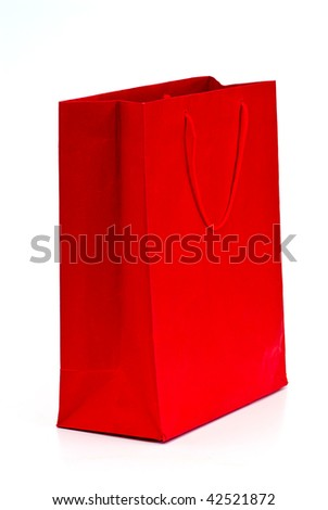 paper bag shopper isolated on white background - stock photo