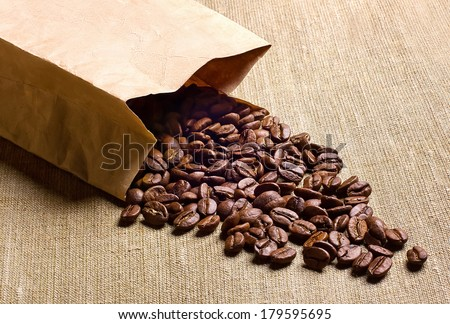 paper bag with coffee beans