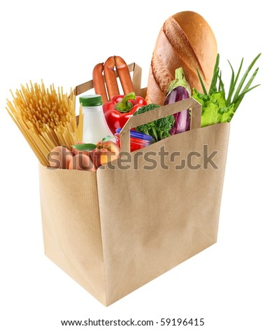 Paper bag with food isolated on a white background.