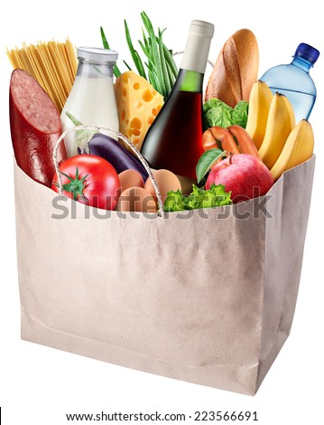 Paper bag with food isolated on a white background. File contains clipping path. - stock photo