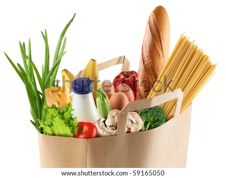 Paper bag with food on a white background. File contains a path to isolation. - stock photo