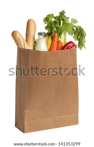Paper bag with food. White background - stock photo
