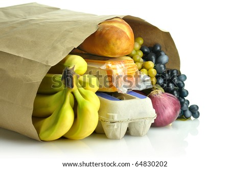 paper bag with groceries - stock photo
