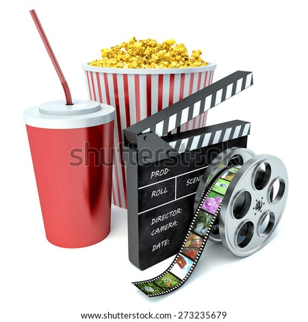 paper bag with popcorn and movie reel - stock photo